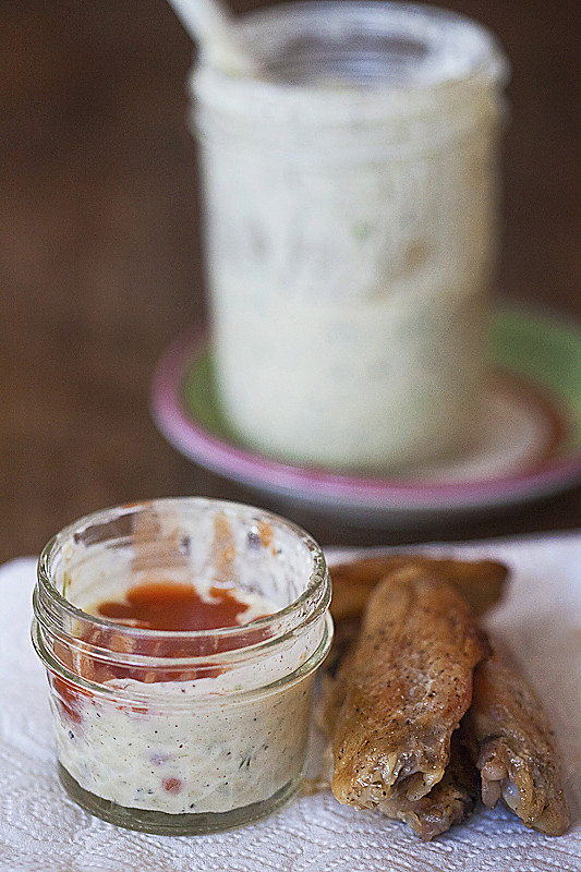 Bear Canyon Ranch Dressing with wings - food photo by Jackie Alpers