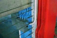 Blue White Red Concrete Garage