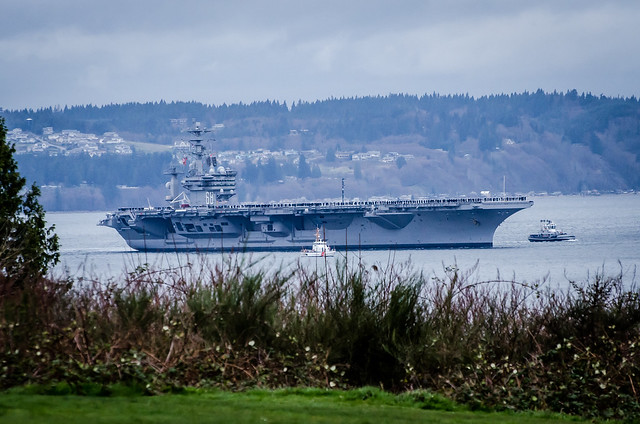 USS Nimitz along with escort cutters round Mukilteo, WA