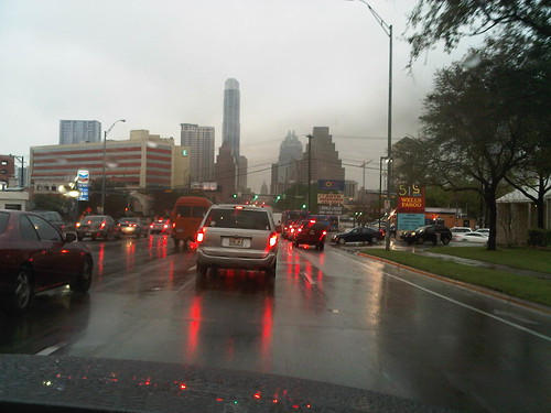 The Grafik team heading towards downtown Austin in the rain