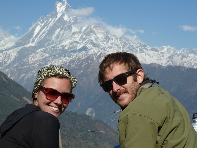 Us in Front of Macchapuchhre (Fishtail Mountain) (Day 4)
