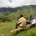 Two friends relaxing on hill in Cherangani Hills North Kenya