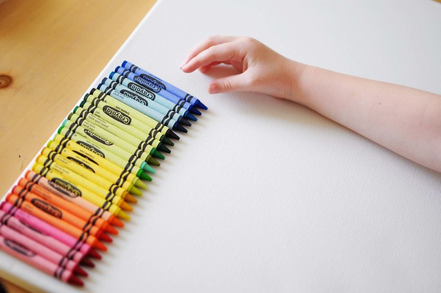 arranging crayons