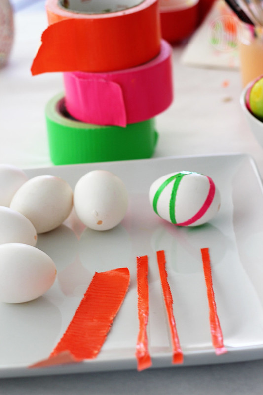 Duct tape and eggs on a plate