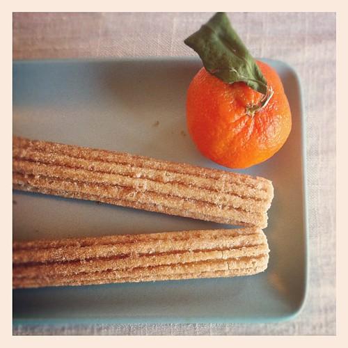 Churro and tangerine.