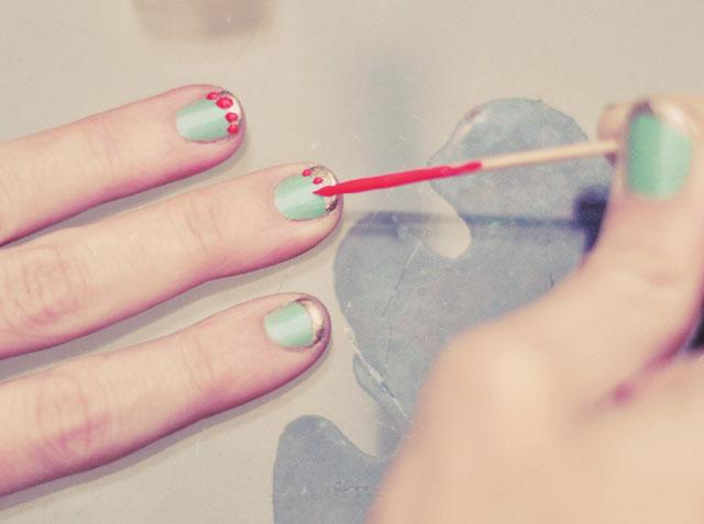 nail art-mint-gold-coral- sonia kashuk nail polish