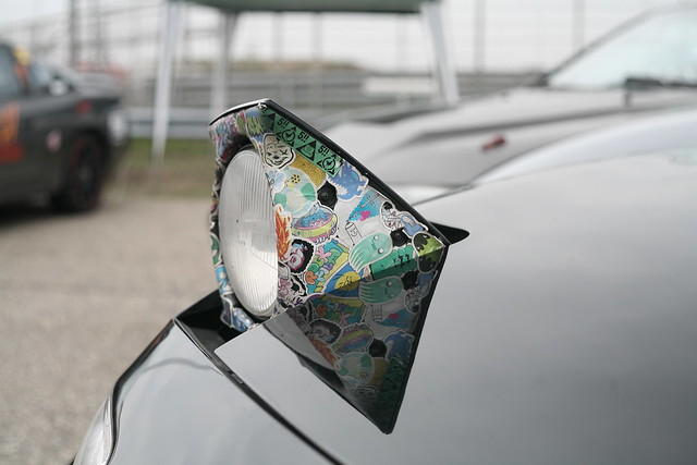 Stickerbombed Mazda MX5 headlight