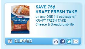 Kraft Fresh Take Cheese & Breadcrumb Mix Coupon