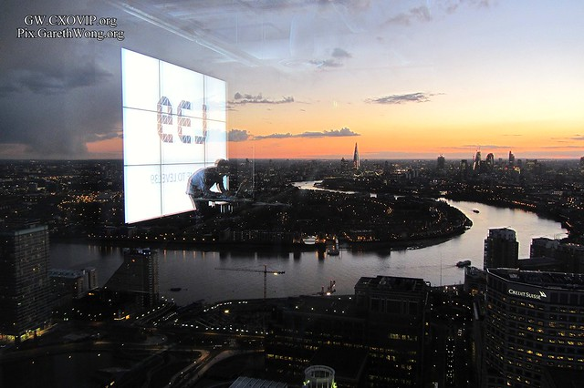 Great view from Level39 of the gorgeous sunset in docklands, we can see the shard etc. City of London from afar IMG_0319 with reflection of DJ & L39 logo