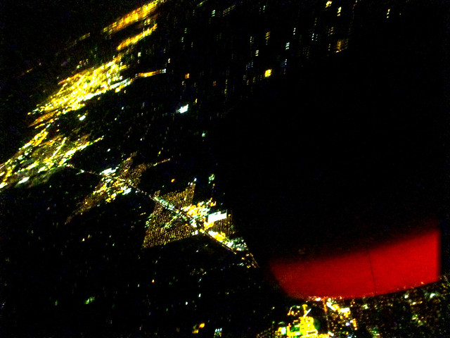 Aerial, night, near San Francisco.  April 2, 2013