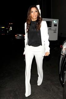 Eva Longoria White Trousers Celebrity Style Women's Fashion