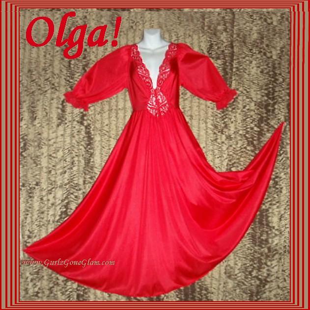 Olga Nightgown Long Sleeve Formfit Red Huge Sweep! Sz Medium, fits L as well