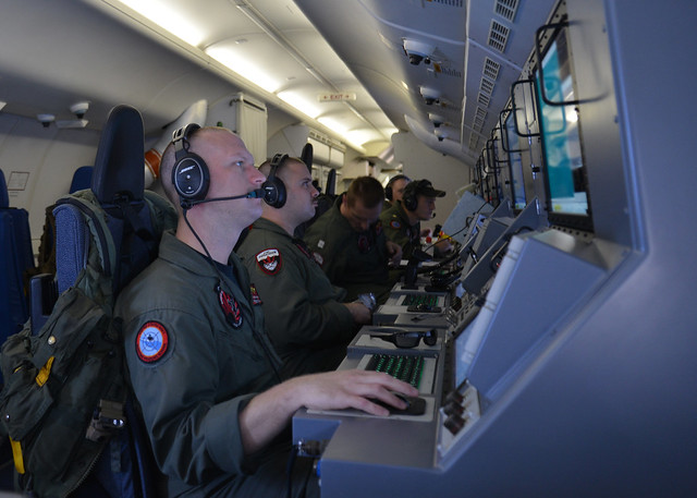 The U.S. Navy helps search for Malaysia Airlines flight MH370.