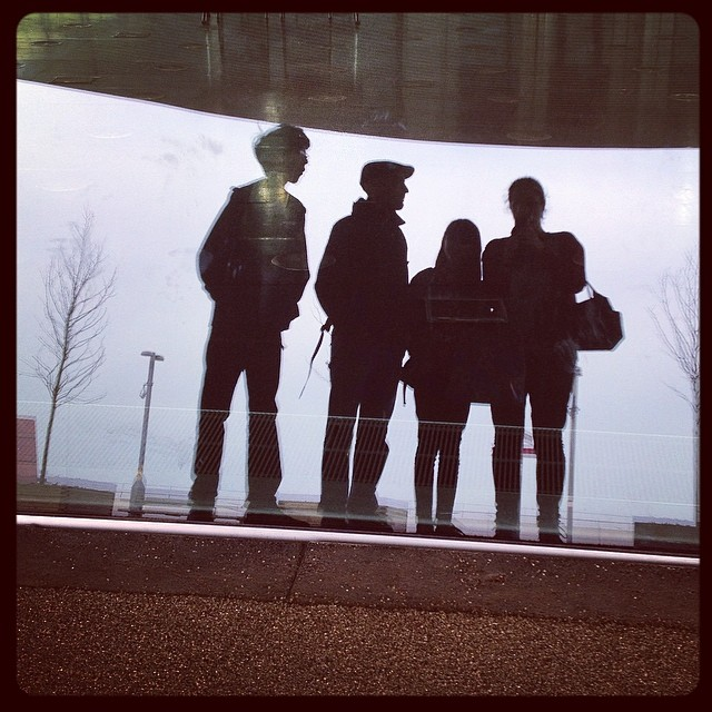 Family reflections in the pool window #london