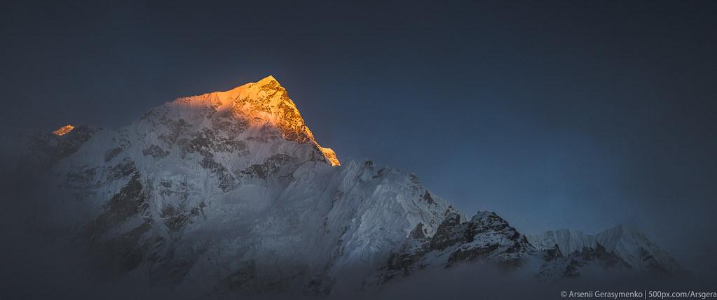 Nuptse Peak and Everest Mt. at sunset