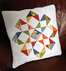 Candy Flowers Quilted Pillow