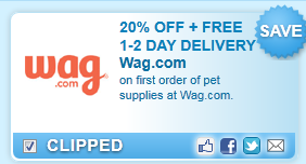 On First Order Of Pet Supplies At Wag.com. Coupon