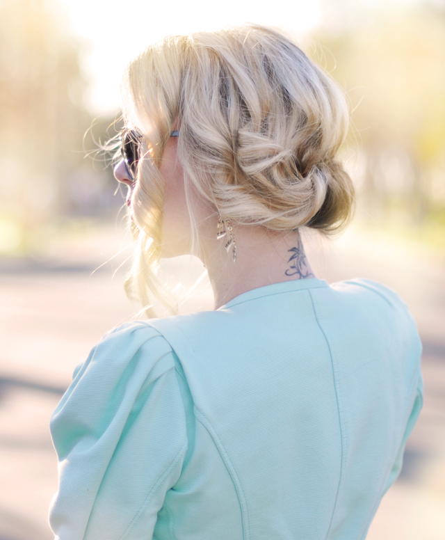 pretty curled low updo - wedding hair