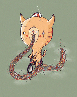 A cat riding a bike along a trail of it's own sick 2