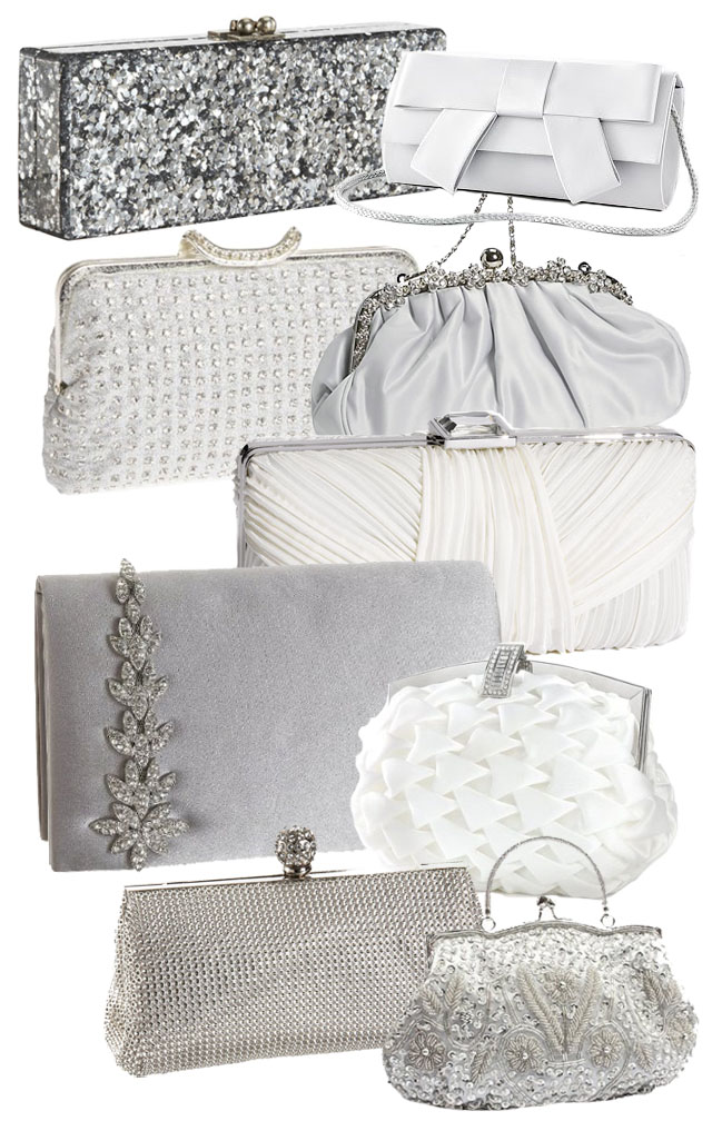 white and silver wedding bridal bags clutches