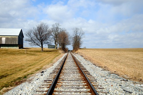 city railroad barn rural train town md track tracks maryland rail rails hampstead incorporated