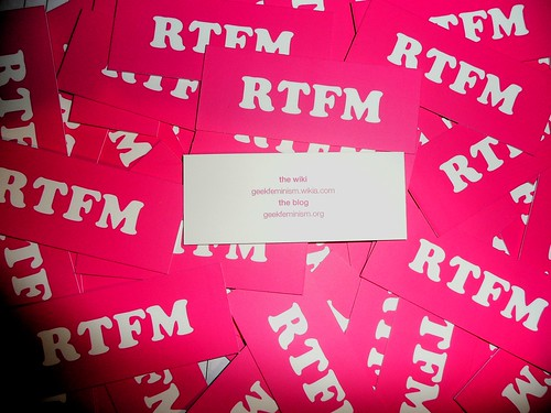 """RTFM"" for geek feminism Moo cards 1/2"