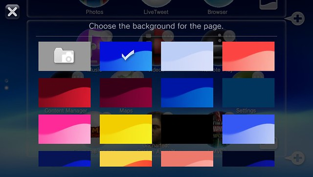 PS Vita Home screen background colour choices
