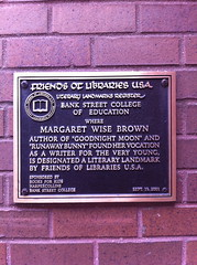Photo of Margaret Wise Brown bronze plaque