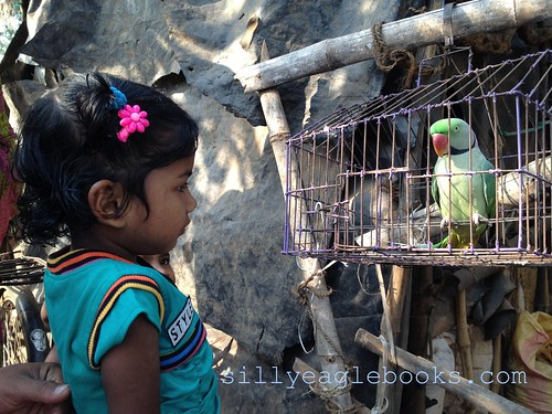 indian girl with parrot