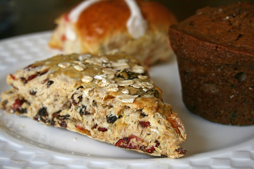 Fruits and Nuts Scone, Hot Cross Ban, Zucchini Muffin