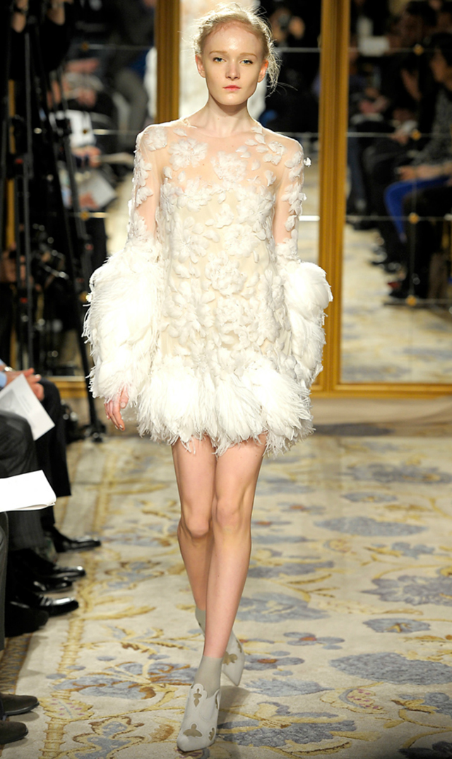 Marchesa 2012 feathered mini dress gowns