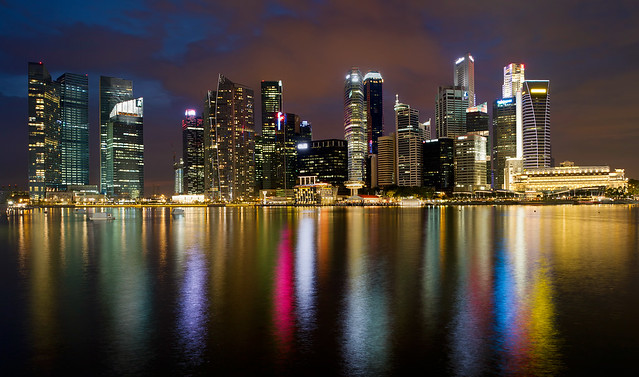 Singapore City Skyline at Blue Hour
