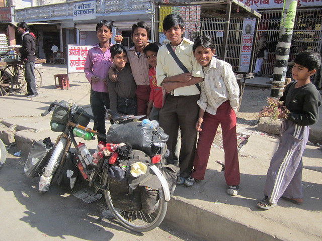 kids watching my bike in Dudu, Rajasthan
