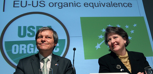 EU Commissioner of Agriculture and Rural Development Dacian Cioloş (left) Agriculture Deputy Secretary Kathleen Merrigan announced that the United States and the European Union formed a partnership that will recognize the two organic programs as equivalent and allow access to each other's markets. The announcement was made at the BioFach World Organic Fair in Nuremberg, Germany on Wednesday, Feb. 15, 2012. Photo courtesy of the European Commission.