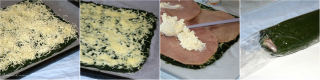 Spinach roulade with cheese and ham