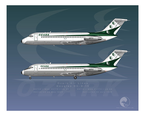 Ozark Air Lines DC-9 Series 15 | N970Z & N971Z | Delivery colors, two variations (1966, 1980)