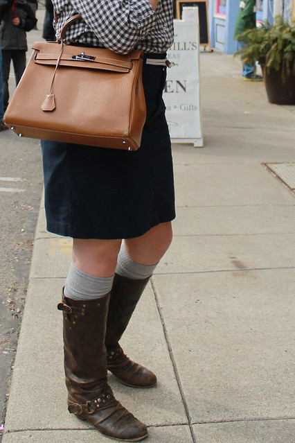 Findlay Market outfit: leather boots, gray socks, navy nautical pencil skirt with rope belt from Anthropologie, Kelly bag, pearls, gingham shirt from Eddie Bauer