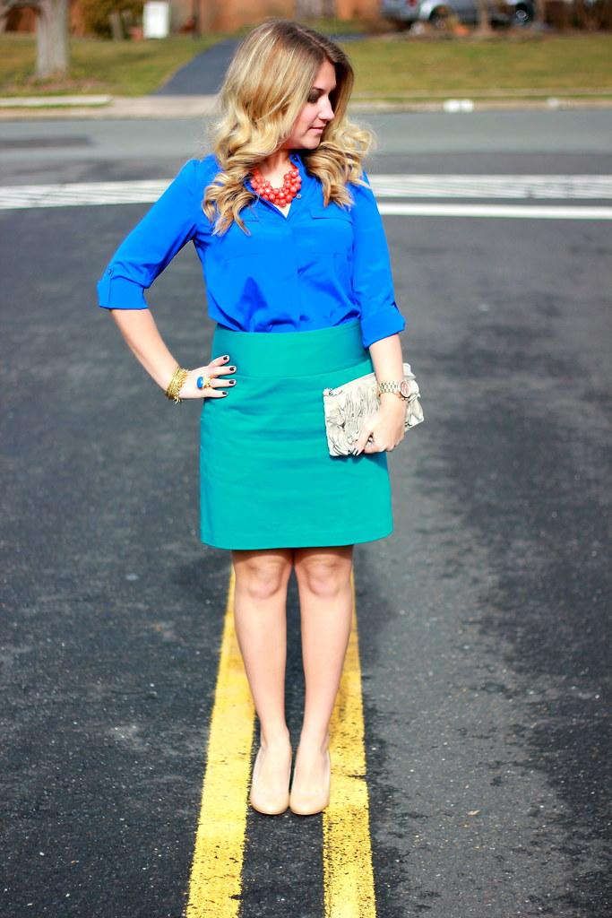 blue, teal, and orange work outfit