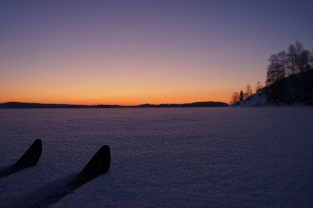 Dusk on skis