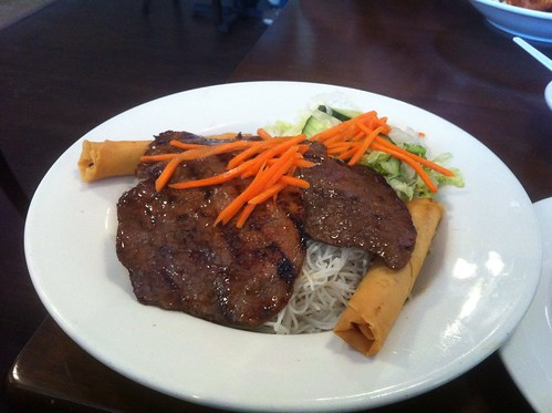 Vermicelli with Beef and Spring Rolls by raise my voice
