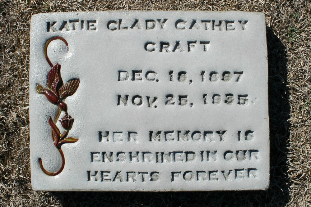 Katie Clady Cathey Craft Headstone