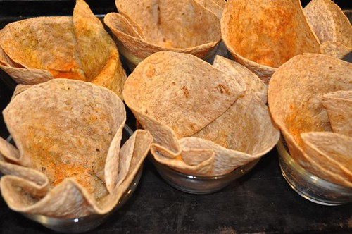 tortilla bowls/done on pan