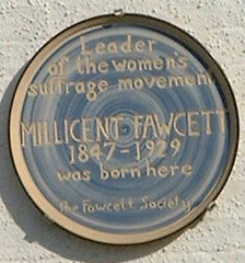 Photo of Millicent Garrett Fawcett blue plaque
