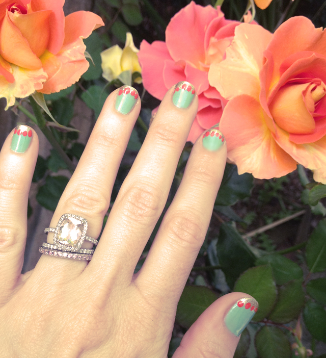 mint- coral- gold nails