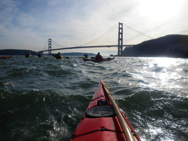 bridge and kayakers