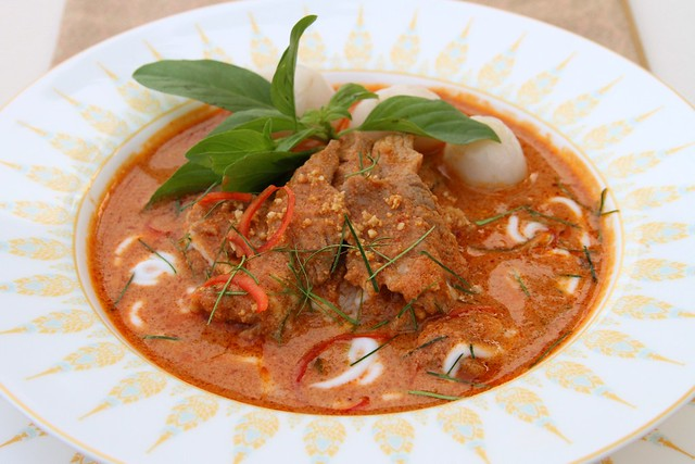 Thick and creamy red beef curry with peanut and lychees