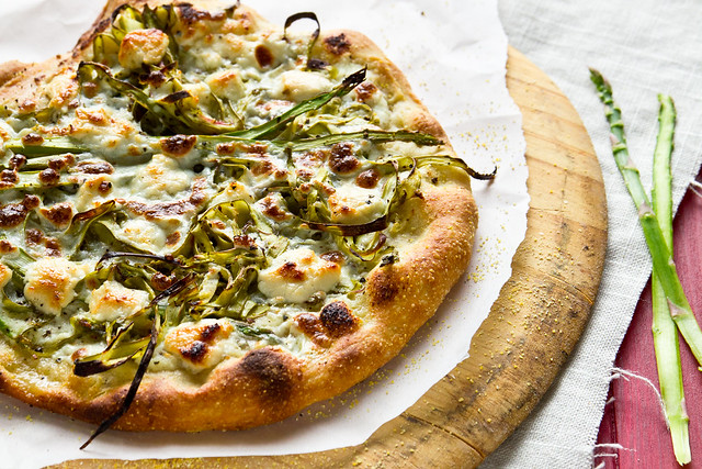 Shaved Asparagus Pizza with Goat Cheese and Ricotta