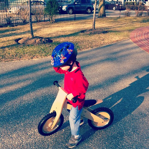 Riding his bike