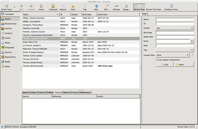 Mac OS X - Gramps Genealogy Software - Main View