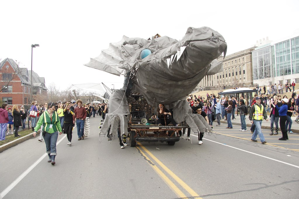 The 2012 dragon parades past Goldwin Smith Hall.
